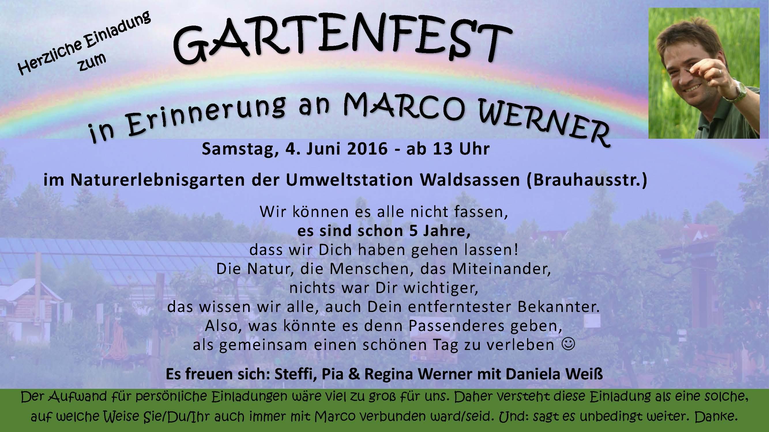 einladung zum gartenfest in erinnerung an marco werner, Einladung